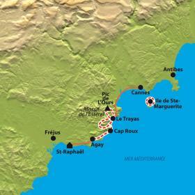 Carte Esterel, la perle rouge de la Côte d'Azur