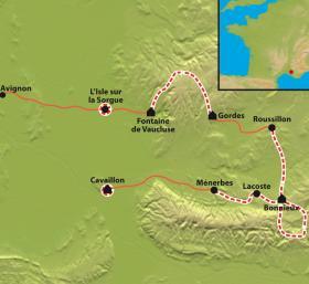 Carte De la source de la Sorgue aux villages perchés du Luberon