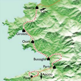 Carte Corse, Mare e monte, de Piana à Calvi