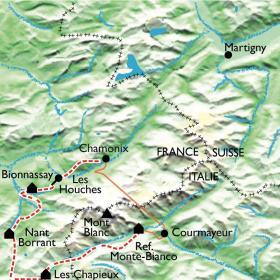 Carte Le Tour du Mont Blanc, partie Sud