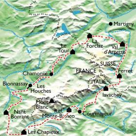 Carte Le Tour du Mont Blanc, l'intégrale