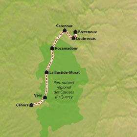 Carte Chemin de Compostelle : La Via Arverna, Bretenoux - Cahors