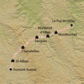Carte Chemin de Compostelle, 7j, Le Puy - Aumont-Aubrac à petits pas