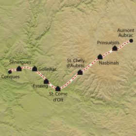 Carte Chemin de Compostelle, Aumont-Aubrac - Conques, version 9 jours