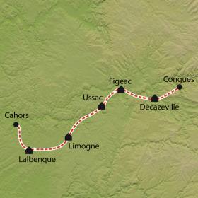 Carte Chemin de Compostelle, Conques - Cahors