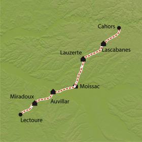 Carte Chemin de Compostelle, Cahors - Lectoure