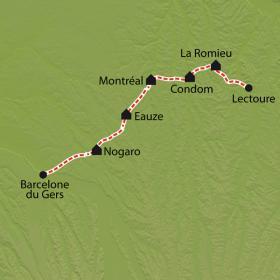 Carte Chemin de Compostelle, Lectoure - Aire sur Adour