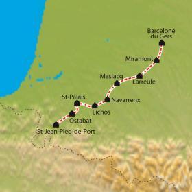 Carte Chemin de Compostelle, Barcelonne du Gers - Saint Jean Pied de Port