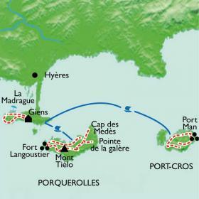 Carte Les îles d'or, Porquerolles et Port-Cros