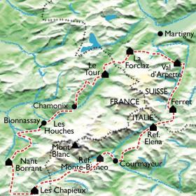 Carte Tour du Mont Blanc Complet