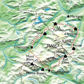 Carte Tour du Mont Blanc Nord