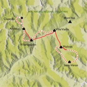 Carte Le Tour du Queyras en raquettes