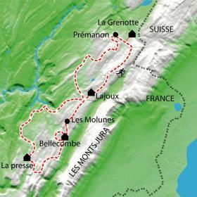 Carte Randonnée nordique dans les Hautes Combes du Jura