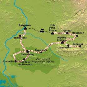 Carte Alpilles et Lubéron à vélo