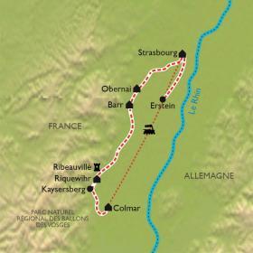 Carte Route des vins d'Alsace à vélo