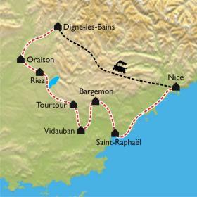 Carte Le Midi de la France à vélo électrique