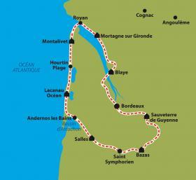 Carte Le Tour de Gironde à vélo