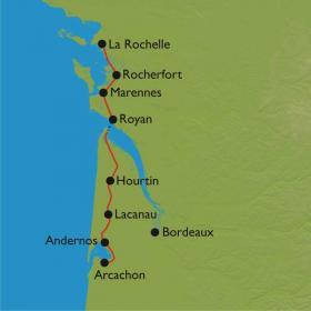 Carte Vélodyssée de La Rochelle à Arcachon