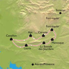 Carte Le Tour du Luberon, de Cavaillon au pays de Forcalquier en vélo