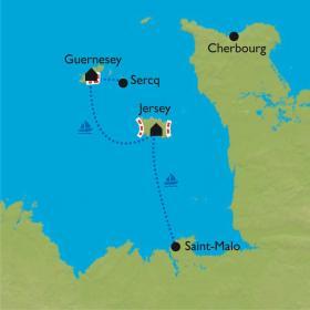 Carte Les îles Anglo-Normandes à vélo