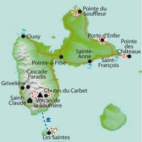 Carte Guadeloupe et Les Saintes, rando coco