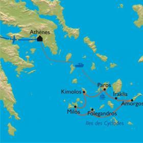 Carte CYCLADES - Rando/bateau, au gré du vent