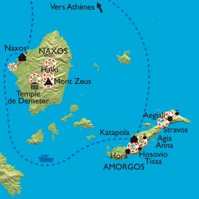Carte Les Cyclades - Amorgos et Naxos
