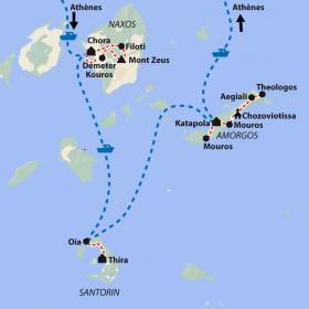Carte Les Cyclades - Santorin, Amorgos et Naxos