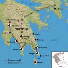Carte Côtes sud du Péloponnèse et l'île de Cythère