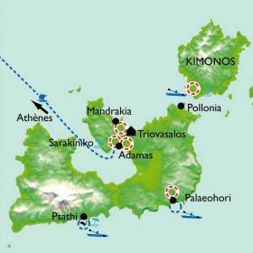 Carte Kayak de mer et randonnée dans les Cyclades