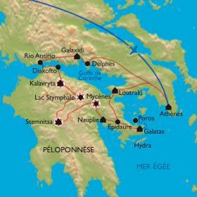 Carte Péloponnèse, sur les pas d'Hercule