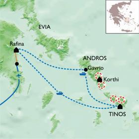 Carte Cyclades : Tinos et Andros.