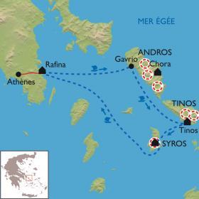 Carte Les Cyclades, Andros - Tinos