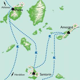 Carte Les Cyclades - Paros, Amorgos, Santorin