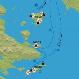 Carte Egine, Hydra, Poros, les îles du golfe Saronique