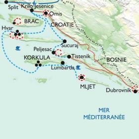 Carte Les îles de Dalmatie au fil de l'eau