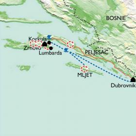 Carte Iles de Korcula et Mljet