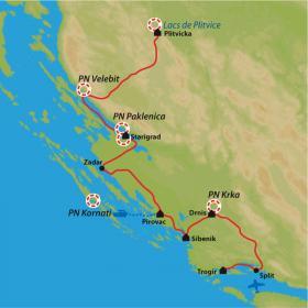 Carte Des parcs nationaux aux villes historiques de l'Adriatique