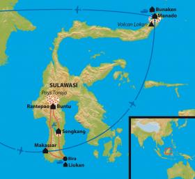 Carte Les Célèbes du Nord au Sud