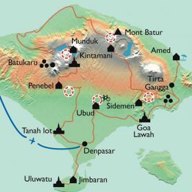 Carte Bali, jardin des dieux... île aux enfants