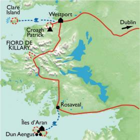Carte Connemara, Burren et îles d'Aran