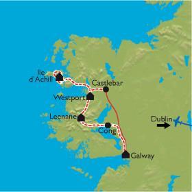 Carte Irlande, le Connemara à vélo