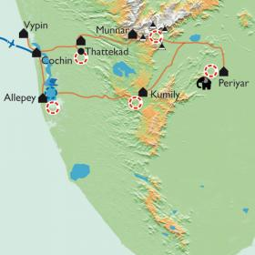 Carte Kerala, la route des épices