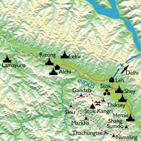 Carte Ladakh, trek dans le désert himalayen