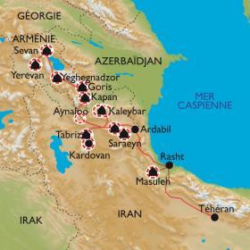 Carte Balade orientale de l'Iran à l'Arménie