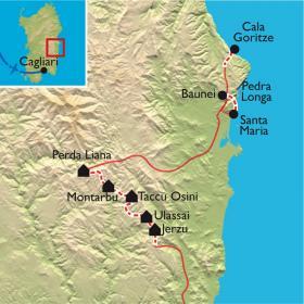 Carte Sardaigne, chemins de transhumance du Supramonte