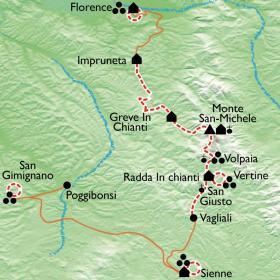 Carte Toscane, de Florence à Sienne