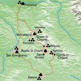 Carte Toscane, châteaux et vignobles du Chianti