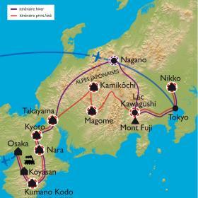 Carte Des chemins du Kumano Kodo au Mont Fuji