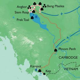 Carte Angkor, la voie royale des temples oubliés